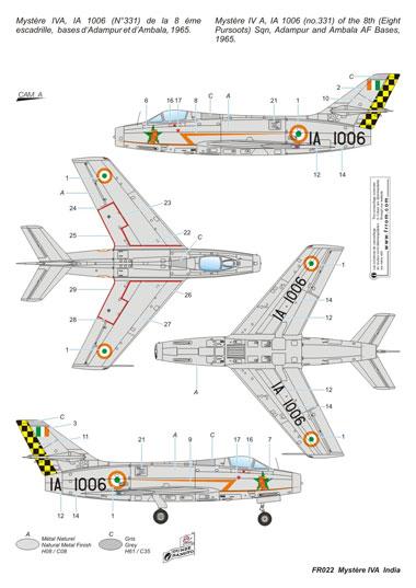Frrom Frrofr022 Dassault Mystere IVA India 1//72